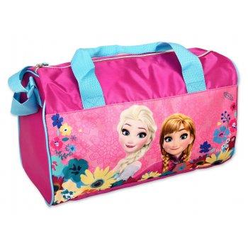 Športová taška Ľadové kráľovstvo - tm. ružová