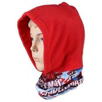 Chlapčenská flísová čiapka / kukla s nákrčníkom Spiderman - červená