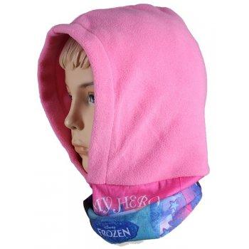 Dievčenská flísová čiapka / kukla s nákrčníkom Ľadové kráľovstvo - sv. ružová