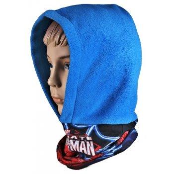 Chlapčenská flísová čiapka / kukla s nákrčníkom Spiderman - modrá
