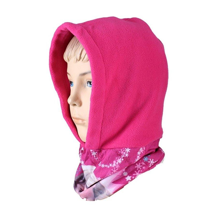 Dievčenská flísová čiapka / kukla s nákrčníkom Ľadové kráľovstvo - tm. ružová