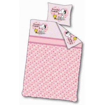 Návliečky do detskej postieľky Snoopy - ružové