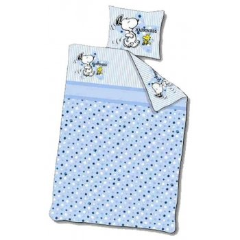 Obliečky do detskej postieľky Snoopy - modré
