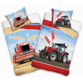 Detské bavlnené obliečky traktor & kombajn