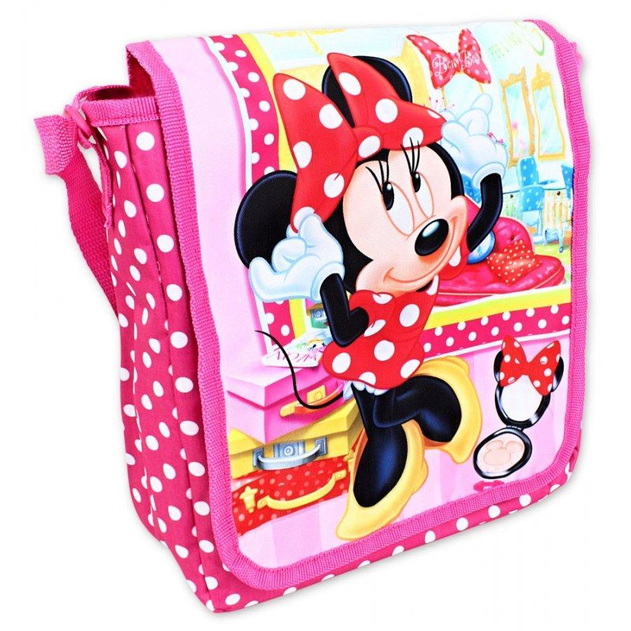 3994e6858f Kabelka cez plece Minnie Mouse s obrázkom obľúbenej parádnice z rozprávok  Walt Disney. Táto taška má jednu kapsu s klopou na suchý zips.