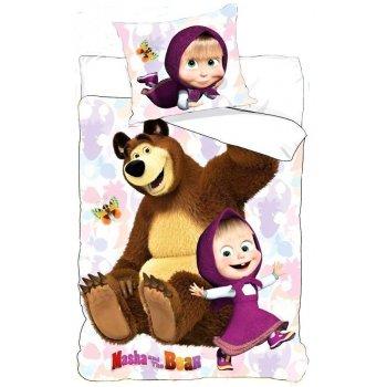 Bavlnené posteľné obliečky Máša a medveď