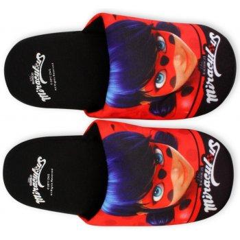 Dievčenské papuče Kúzelná lienka - Ladybug - čierne
