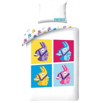 Bavlnené posteľné obliečky Fortnite - farebné lamy