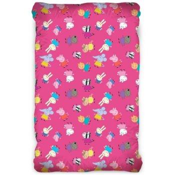 Bavlnená plachta na jednolôžko Prasiatko Peppa - ružové