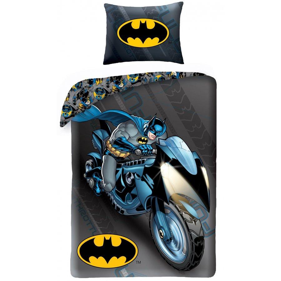 Bavlnené posteľné obliečky Batman na motorke