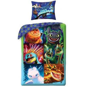 Detské bavlnené posteľné obliečky Ako si vycvičiť draka 3 - Portréty drakov