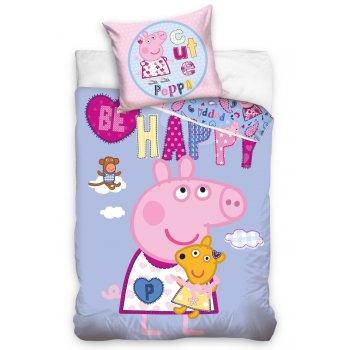 Detské posteľné obliečky Prasiatko Peppa - Be happy
