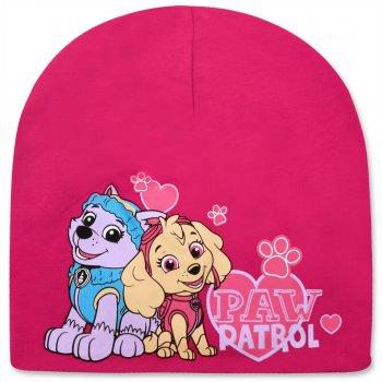 Dievčenská jarná / jesenná čiapka Paw Patrol - tm. ružová