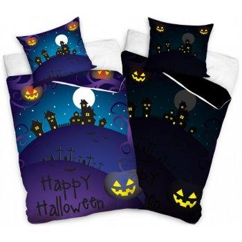 Svietiace posteľné obliečky Happy Halloween