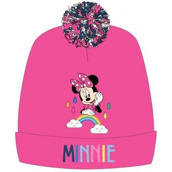 Dievčenská zimná čiapka s brmbolcom Minnie Mouse - ružová