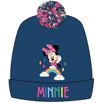 Dievčenská zimná čiapka s brmbolcom Minnie Mouse - tm. modrá