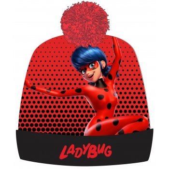 Dievčenská zimná čiapka s brmbolcom Čarovná lienka - Miraculous Ladybug