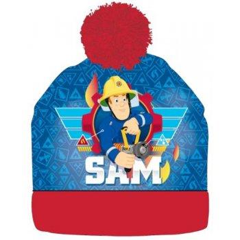 Chlapčenská zimná čiapka s brmbolcom Požiarnik Sam - červená