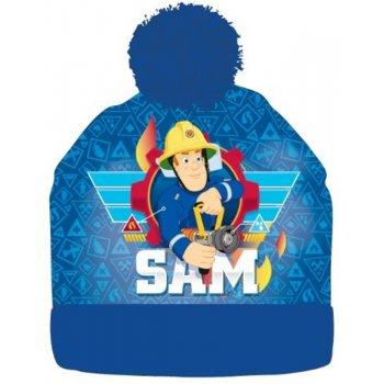 Chlapčenská zimná čiapka s brmbolcom Požiarnik Sam - modrá