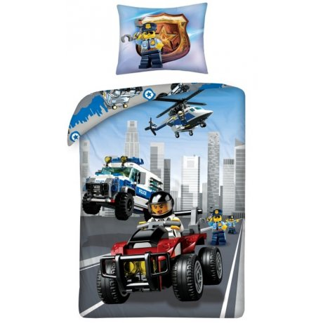 Bavlnené posteľné obliečky LEGO City - polícia