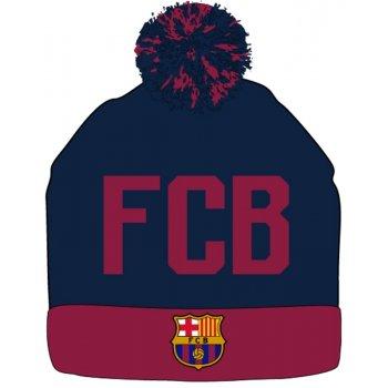 Zimná úpletová čiapka s brmbolcom FC Barcelona - modrá navy