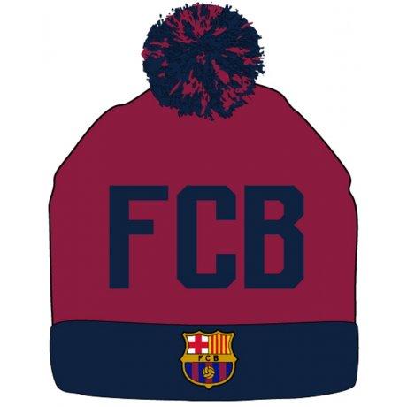 Zimná úpletová čiapka s brmbolcom FC Barcelona - červeno hnedá