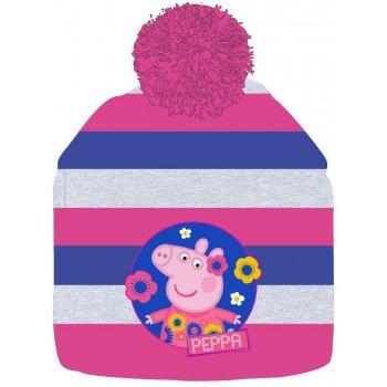 Dievčenská zimná čiapka Prasiatko Peppa s brmbolcom