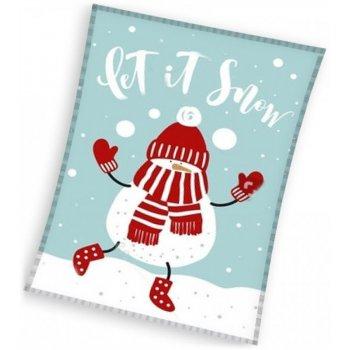 Vianočný fleecová deka - snehuliak