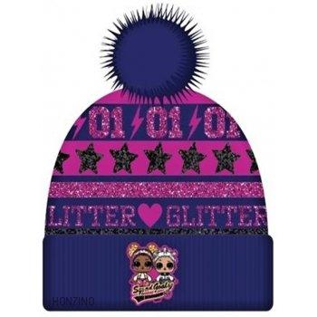 Dievčenská zimná čiapka s brmbolcom L.O.L. Surprise - tm. modrá