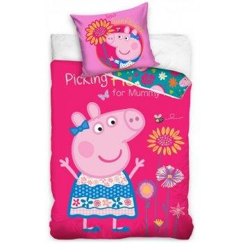 Detské posteľné obliečky Prasiatko Peppa a kvety