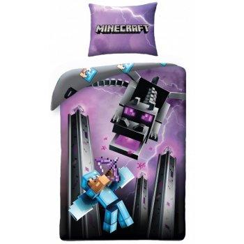 Bavlnené posteľné obliečky Minecraft - Steve a Ender Dragon