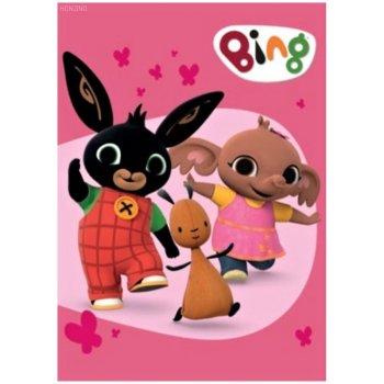 Detská fleecová deka Zajačik Bing Bunny, Flop a Sula - ružová