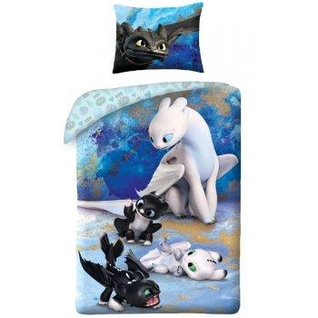 Detské bavlnené posteľné obliečky Ako si vycvičiť draka 3 - Toothless a Light Fury