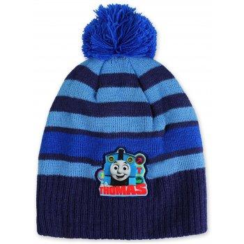 Chlapčenská zimná čiapka s brmbolcom Mašinka Tomáš - tm. modrá