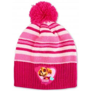Dievčenská zimná čiapka s brmbolcom Paw Patrol - tm. ružová