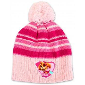 Dievčenská zimná čiapka s brmbolcom Paw Patrol - sv. ružová