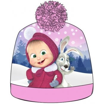 Dievčenská zimná čiapka s brmbolcom Máša a medveď - ružová