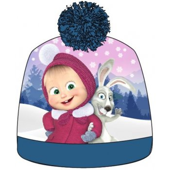Dievčenská zimná čiapka s brmbolcom Máša a medveď - tyrkysová