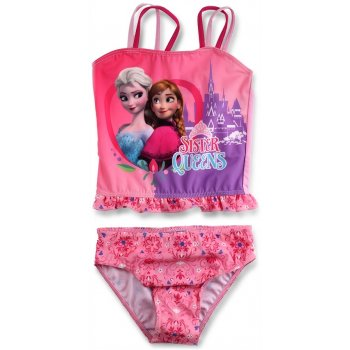 Dievčenské dvojdielne plavky Ľadové kráľovstvo - Sister Queens - sv. ružové