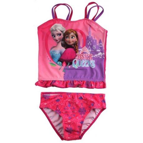 Dievčenské dvojdielne plavky Ľadové kráľovstvo - Sister Queens - tm. ružové