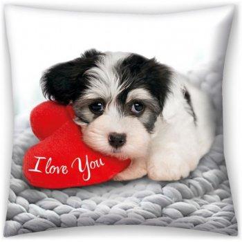 Dekoračný vankúš I love You - šteniatko