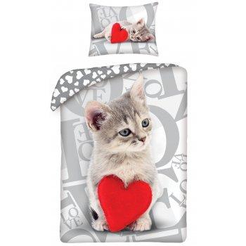 Bavlnené posteľné obliečky ♡ LOVE ♡ - mačiatko