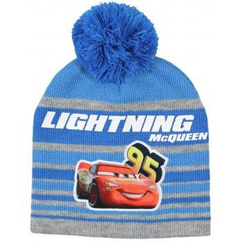 Chlapčenská zimná čiapka s brmbolcom Auta - McQueen - modrá