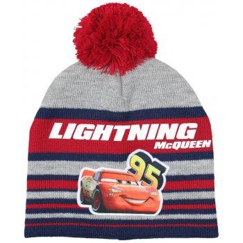 Chlapčenská zimná čiapka s brmbolcom Auta - McQueen - červená