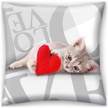 Dekoračný vankúš ♡ LOVE ♡ - mačiatko