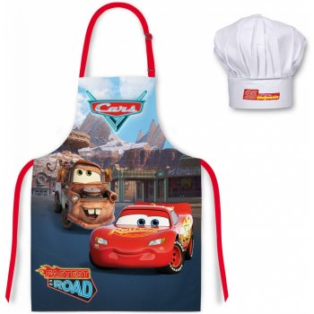Detská zástera s kuchárskou čiapkou Auta - Blesk McQueen