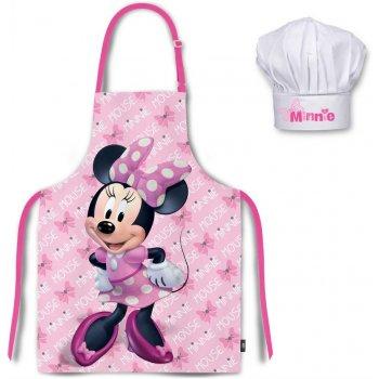 Detská zástera s kuchárskou čiapkou Minnie Mouse - Disney - sv. ružová