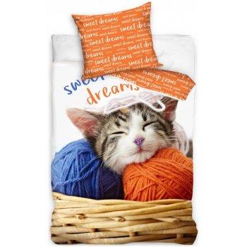 Bavlnené posteľné obliečky mačiatko a klbká