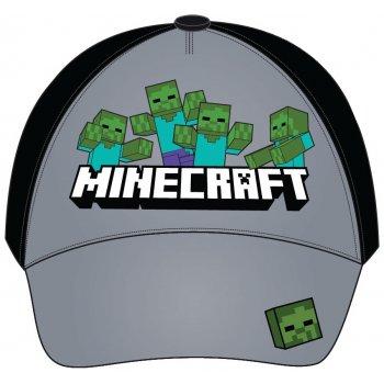 Šiltovka Minecraft - šedo / čierna