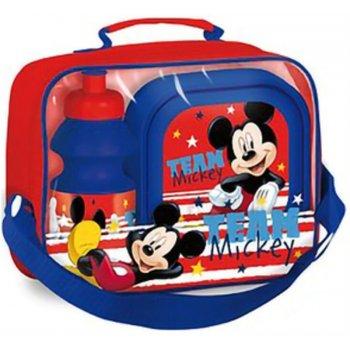 Pikniková sada Mickey Mouse - box na desiatu a fľaša na pitie v taške